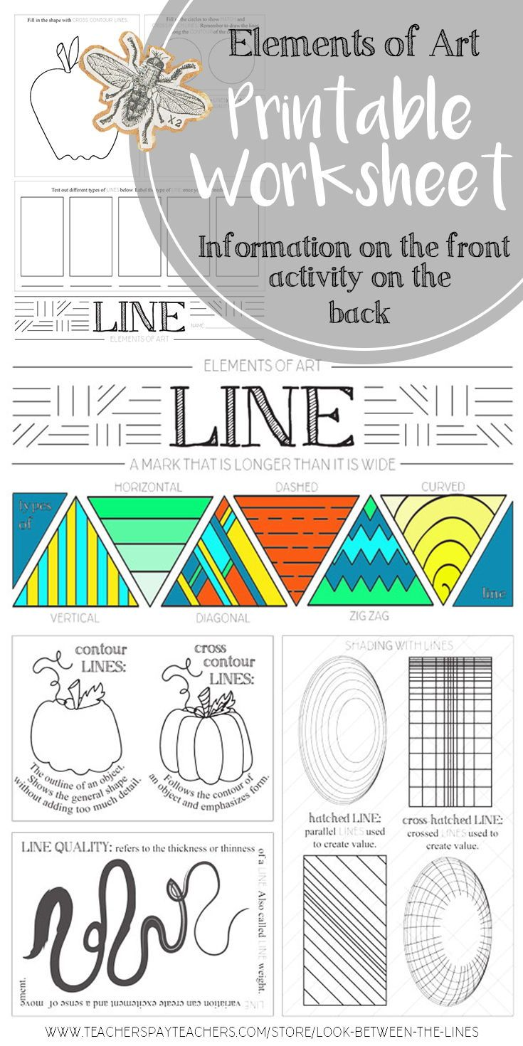I use this elements of art worksheet in my Introduction to Art class every year. This printable worksheet covers the element of art, line. #elementsofart #line #value #art #education
