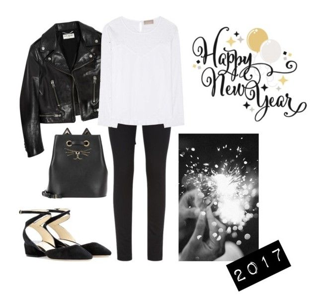 """happy new year \m/"" by kryssicha on Polyvore featuring Charlotte Olympia, Yves Saint Laurent, Armani Jeans, 81hours and Jimmy Choo"