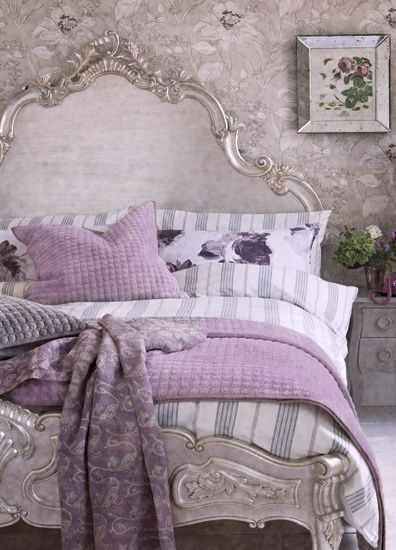 Glamourous French inspired bedroom. silver + lilac. Shop the bed at Serendipity…