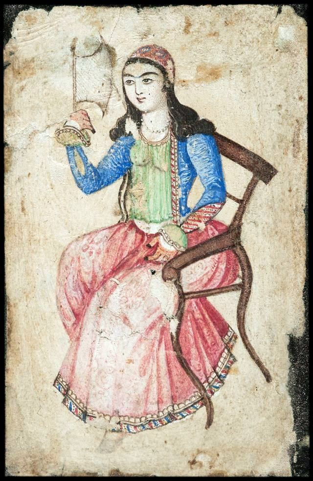 Watercolor portrait of an unknown woman. Date unknown. Private collection of Bahman Bayani.  Courtesy of Women's Worlds in Qajar Iran.