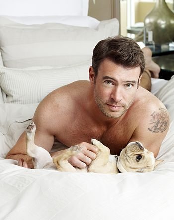 Scott Foley Lies Shirtless in Bed With Puppies for Charisma Photos