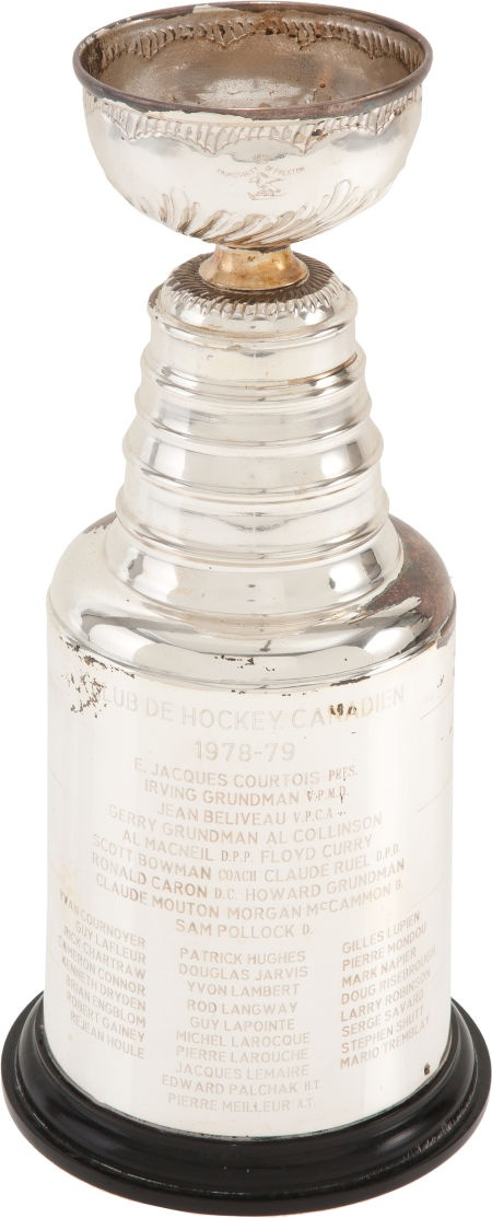 A miniature Stanley Cup Championship trophy from 1977-78, presented to a member of the Montreal Canadiens after their 4 games to 2 victory over the Boston Bruins.