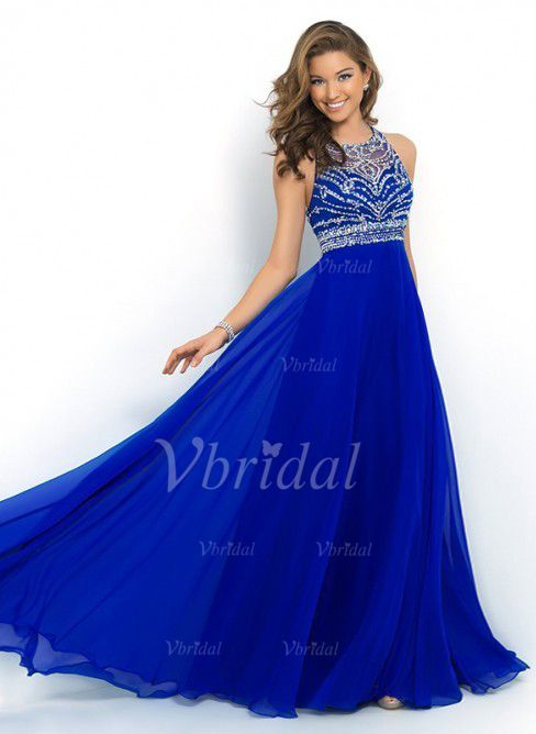 Prom Dresses - $139.00 - Empire Scoop Neck Sweep Train Chiffon Prom Dress With Beading (0185091950)