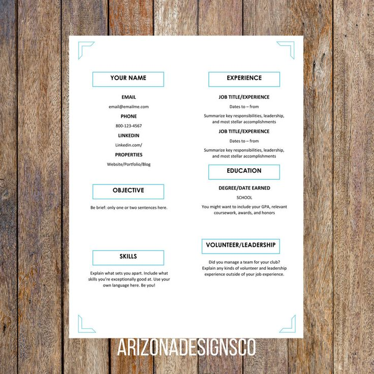 Cute One Page Resume Template Editable for MS Word