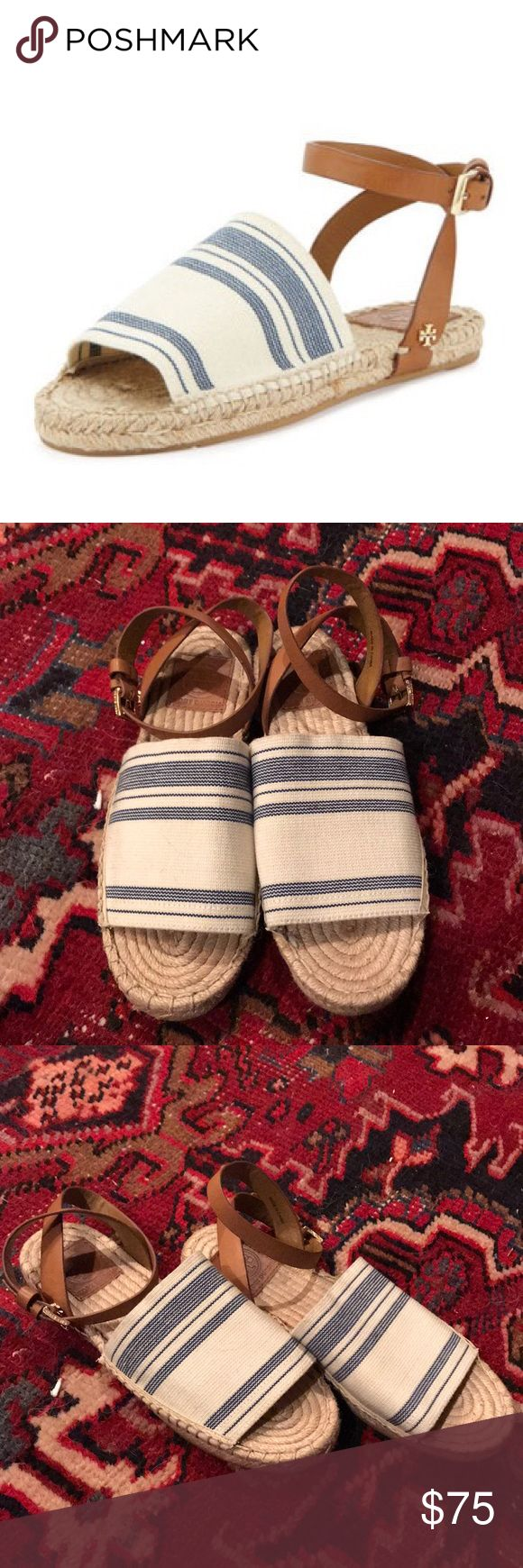 Tory Burch Espadrilles Tory Burch Stretch canvas blue and white espadrille sandals  I excellent condition. Size 6.5. Perfect for spring/summer. Tory Burch Shoes Sandals