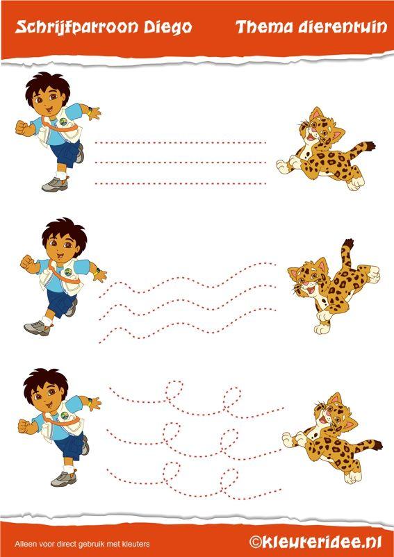 Schrijfpatroon Diego voor kleuter, kleuteridee.nl , Preschool Diego writing pattern, free printable.