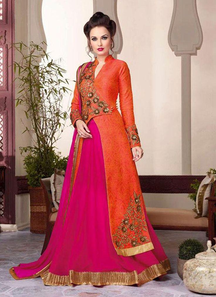 Modern Raw Silk Zari Work A Line Lehenga Choli