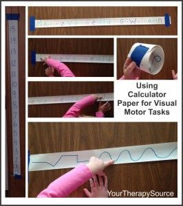 Using calculator paper for visual motor activities, crossing midline and visual scanning activities