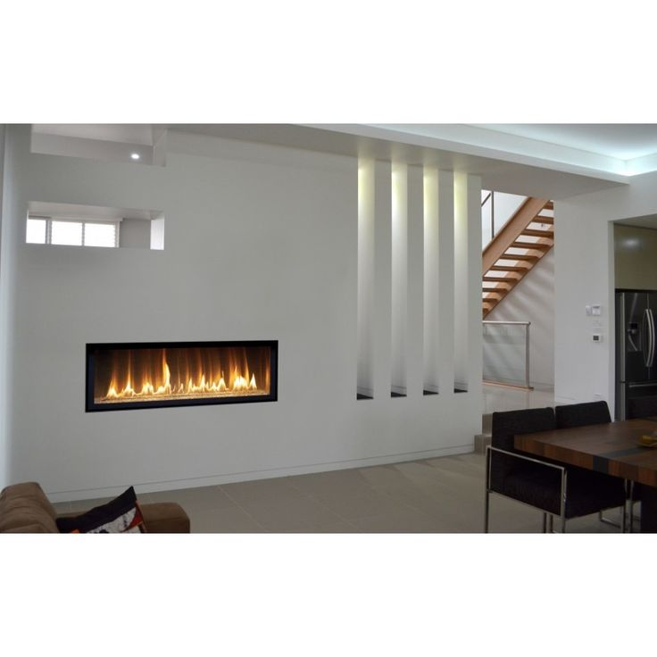 Engaging Home Interior Decoration With Long Gas Fireplace : Endearing Image Of Modern Living Room Decoration Using White LED Lamp In Living Room Including Modern Black Leather Living Room Chair And Modern In Wall Long Gas Fireplace