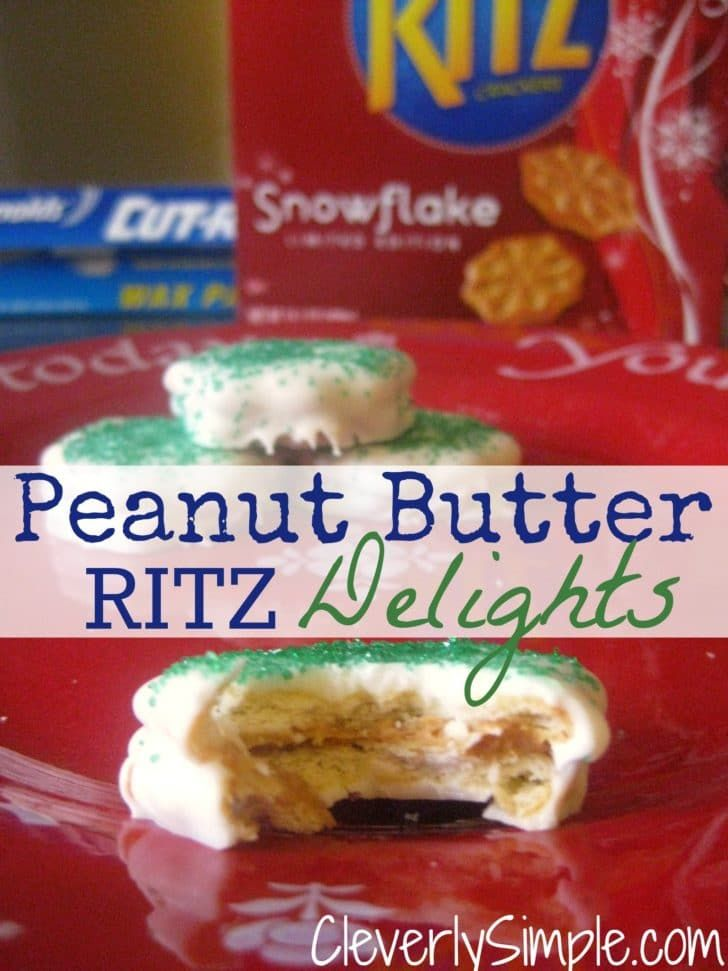 """[pinit count=""""horizontal""""] Take Ritz Crackers with peanut butter and dip them in chocolate. What do you get? Quite possibly the easiest, and yummiest Christmas treat! The only thing that gives it a run for the money in the easy department is the Chocolate Covered Pretzels I shared here. My son has his Christmas play for pre-school this Friday. He's a mouse. Squeek! I'm to bring a dozen cookies, so I decided to rebel and bring these. I made them while the 1 year old and 3 year old w..."""