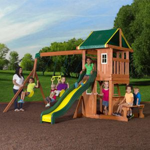 Backyard Discovery Oakmont Cedar Wooden Swing Set Walmart - $499.00, love playhouse.
