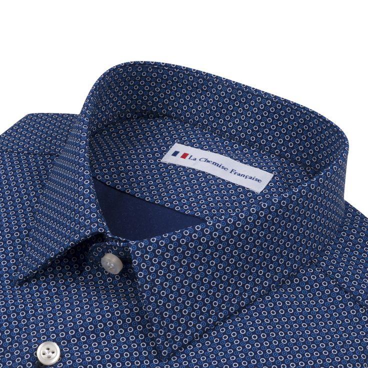 Gautier - Délicat motif à pois Chemise 100 % coton. Motifs circulaires bleus et blancs.