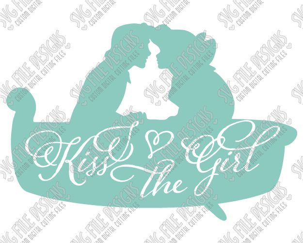 Ariel and Eric Silhouette Disney Word Art Cut File Set in SVG, EPS, DXF, JPEG, and PNG
