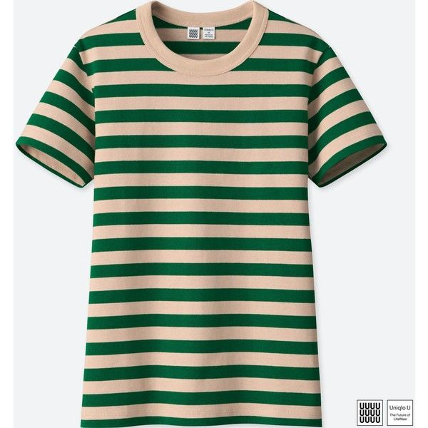 6ebd651685 UNIQLO Women's U Striped Crewneck Short-sleeve T-Shirt ($15) ❤ liked on  Polyvore featuring tops, t-shirts, green, crew neck tee, crew neck t shirt,  short ...