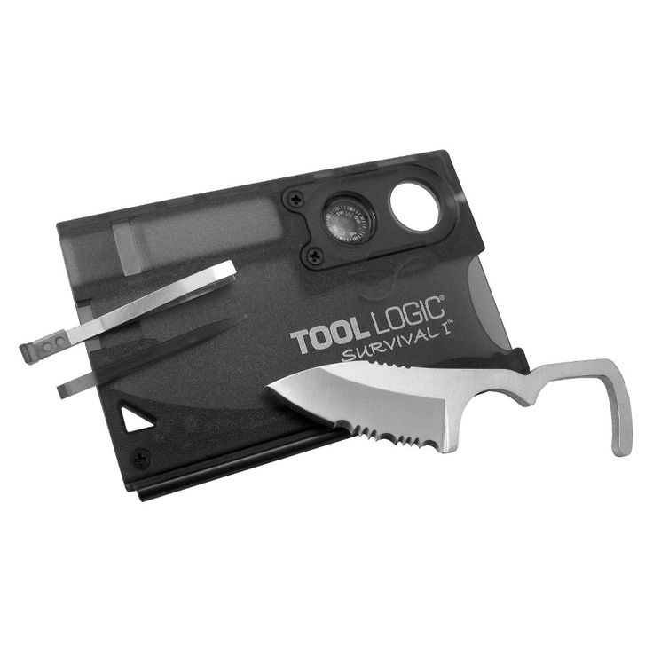 Tool Logic Survival Card with Fire Starter, Compass and Knife, Black