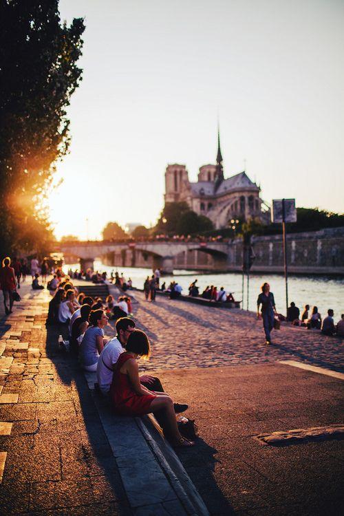 sunset on the seine / paris, france