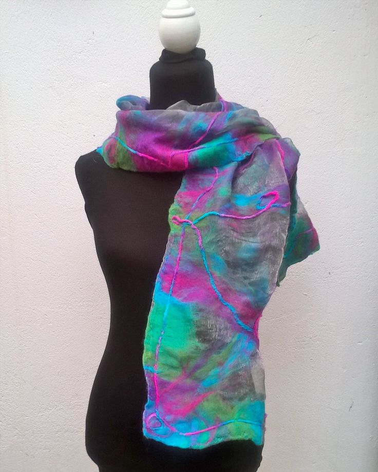 fiesta colours on organza, inspired by the wool yarn incorporated into this nuno scarf.