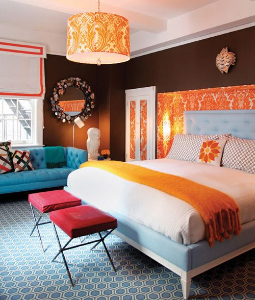 orange blue and brown bold bedroom color scheme search for more decorating ideas - Bold Bedroom Colors