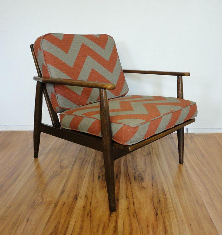 Mid Century Chevron Danish Lounge Chair Walnut