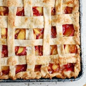 Simple, buttery peach slab pie