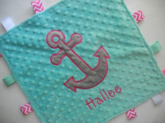 Nautical Anchor Girl Personalized Baby Lovey Blanket, Minky Baby Blanket, Tag Blanket with Sensory Ribbons, Minky Chevron Blanket on Etsy, $19.99