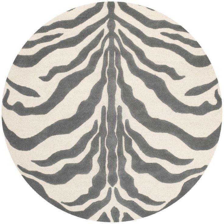 Cambridge Ivory/Dark Gray 6 ft. x 6 ft. Round Area Rug