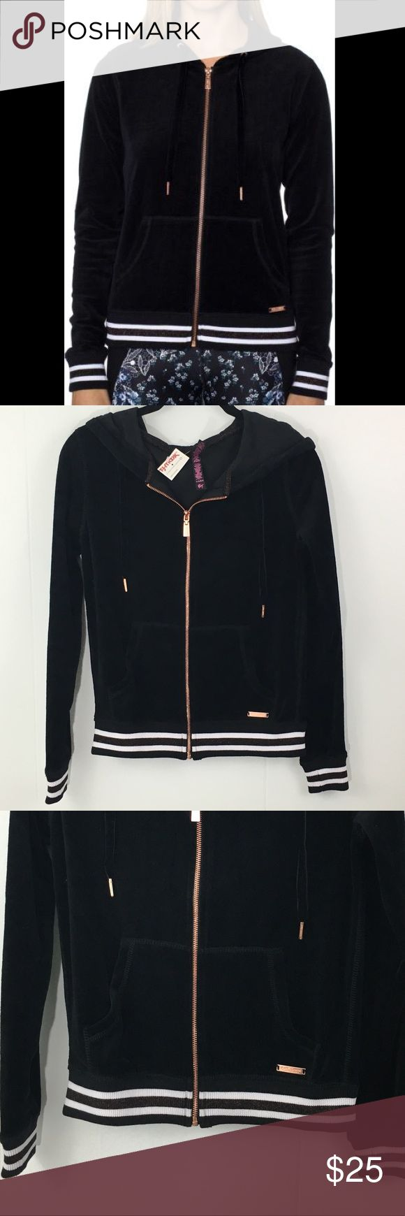 "NWT Betsey Johnson Velour Zip Up Hoodie XS New with tags, Black Velour Zip Up Hoodie.  Athletic white stripes around the button and sleeves.  Rose gold zipper and foils through the athletic stripes.  Super cute and cozy!  22"" Long, 17"" armpit to armpit when zipper. Betsey Johnson Tops Sweatshirts & Hoodies"