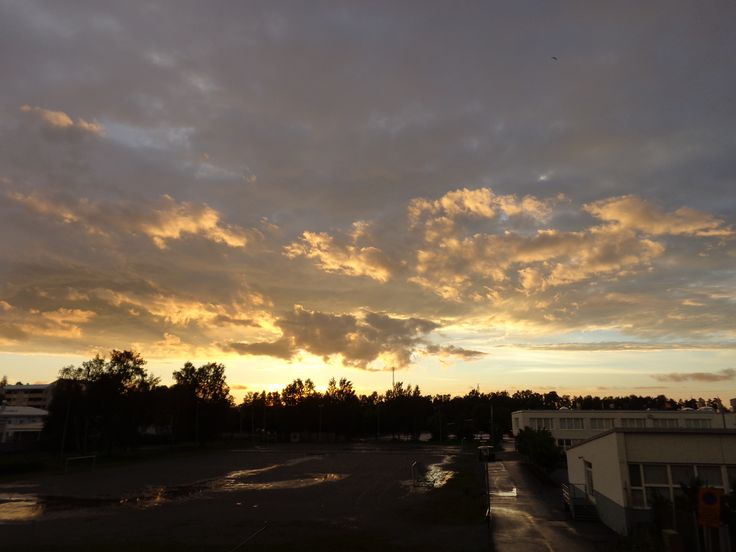 The sun sets on a rainy day in Vaasa, Finland