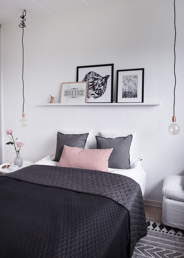 White, grey & pink bedroom