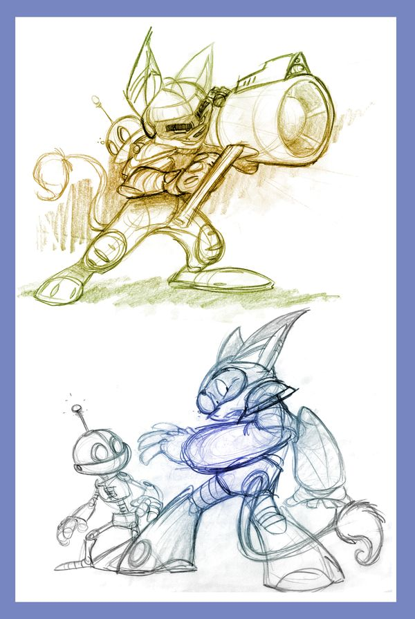 Sketchbook Ratchet-Clank by fnook A few more sketches pulled from my bulging sketchbook.. Bloated like a sea corpse, it is.. *ahem*.. -- I've always been a big fan of the Ratchet & Clank games back on the Playstation 2, and here's some evidence of that. Technicly these two shouldn't work together because character-wise they both play the straight man, but for the purposes of the game they seem to work fine.
