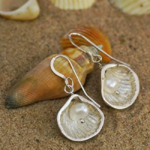 Cockle Shell & Pearl Drop Earrings | Silver Clay Jewellery | Silver Seashells | Carol Banks