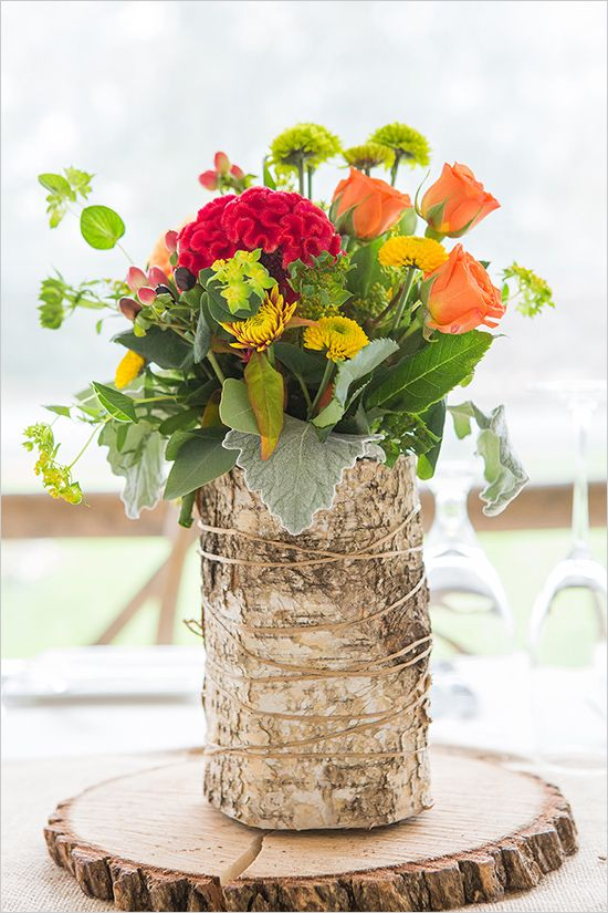Casual And Elegant Fall Wedding The Flowers Vases And