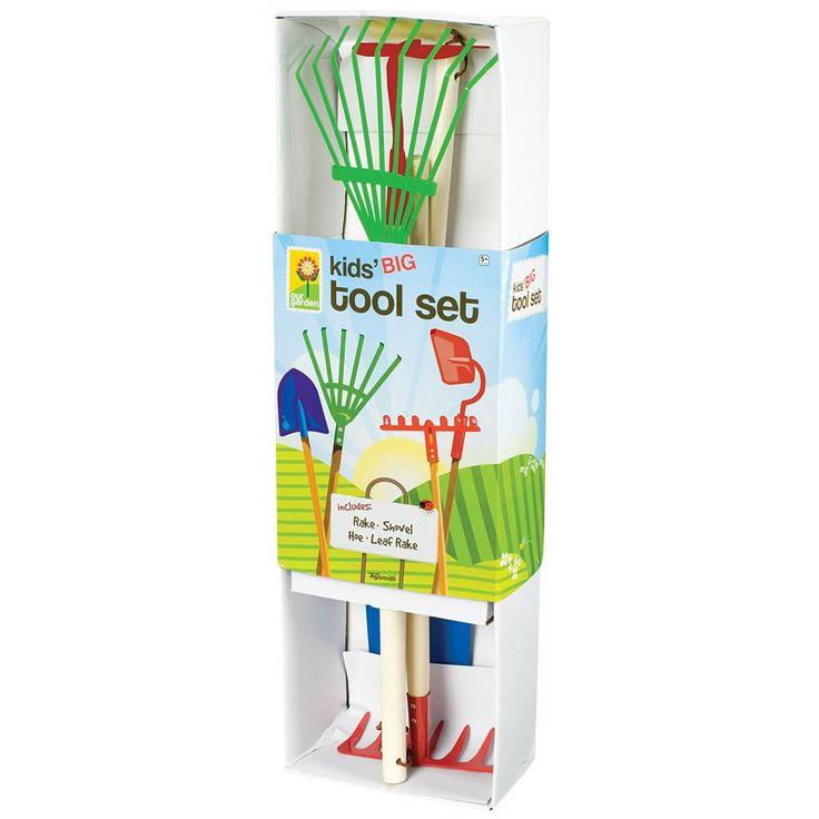 Toysmith Kids Garden Tool Set with Garden Rake, Spade, Hoe & Leaf Rake, Multicolor