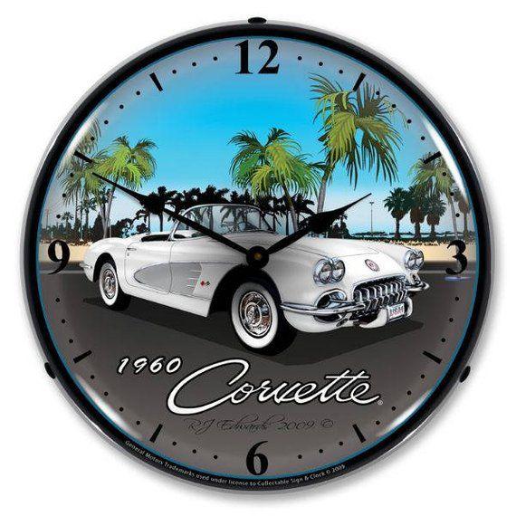 Antique Style 1960 Corvette Led Lighted Etsy In 2020 Wall Clock Light Wall Clock Wall Clock Classic