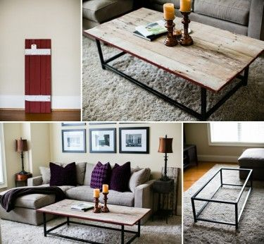 use the metal frame from a glass coffee table to make the base.  spray paint if it isnt the color you like.