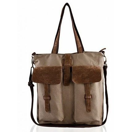 34 BRIGIDE™ Canvas PU leather shoulder bag