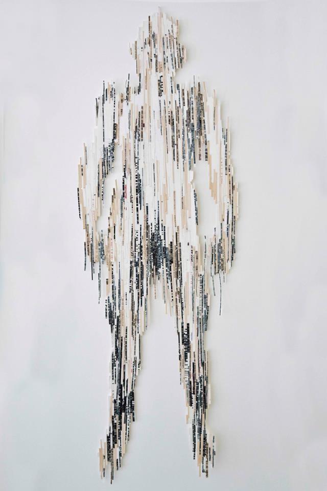 Fractionalized Figures IV   2013  Collage, mix-media   155 x 98 cm