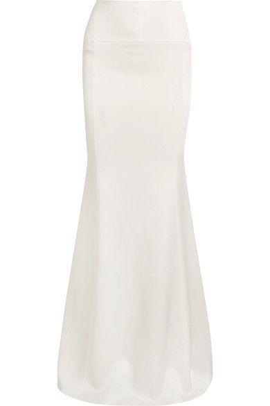 Roland Mouret - Aries Satin Maxi Skirt - White - UK
