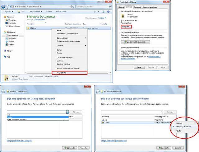 Compartir carpetas y archivos en red con Windows 7: Comparte carpetas