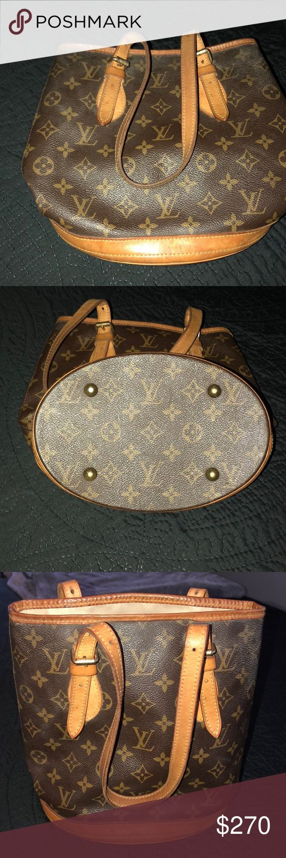 Authentic Louis Vuitton Petite Bucket Handbag Bag is in great condition, I recently bought it from another Poshmark seller. I'm willing to sell or trade for a bigger bag. Bags Shoulder Bags