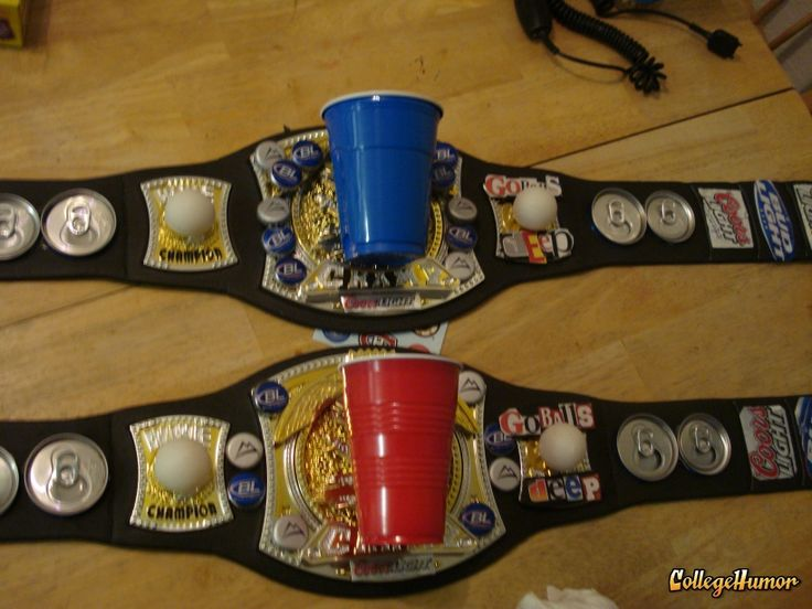 beer pong champ belts :) perfect party idea