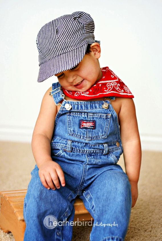 Thomas the Train Birthday Party (12) Birthday Outfit but with a shirt underneath the overalls, of course!