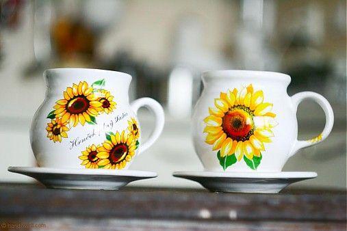 Šálky na čaj slnečníce - 2ks by handloved - SAShE.sk - Handmade Šálky