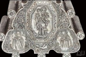 Avery Fine and Extremely Rare Engraved and Black Lacquer or Paste inlaid Mother of Pearl Crucifix, Jerusalem or Bethlehem 18th century. - Mother of Pearl* - Materials - Inventory