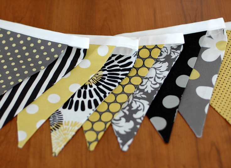 Etsy Shop:freshsqueezedbaby.  BUNTING, Fabric Flag Banner, Garland, Pennant Home or Nursery Decor, Photo Prop - Yellow, Citron, Gray, Black, White - 9 Feet 9 flags. $32.00, via Etsy.
