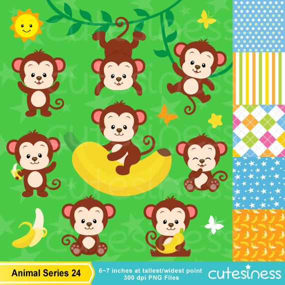 Monkey Digital Clipart Monkey Clipart Baby Monkey от Cutesiness