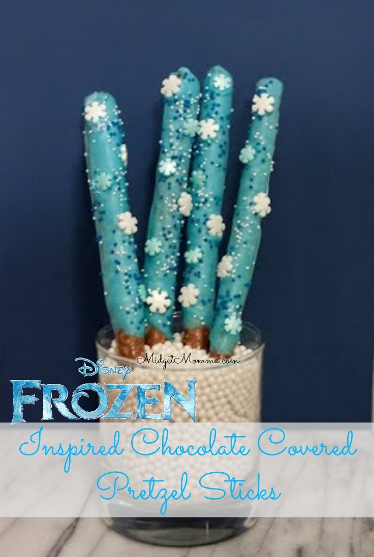 Disney Frozen Inspired Blue Chocolate Cover Pretzels  with the PERFECT Frozen blue color. These easy to make Frozen treats will be the hit of any Frozen party or a special treat for any frozen fan. The kids will love these Disney Frozen Inspired Blue Chocolate Cover Pretzels.