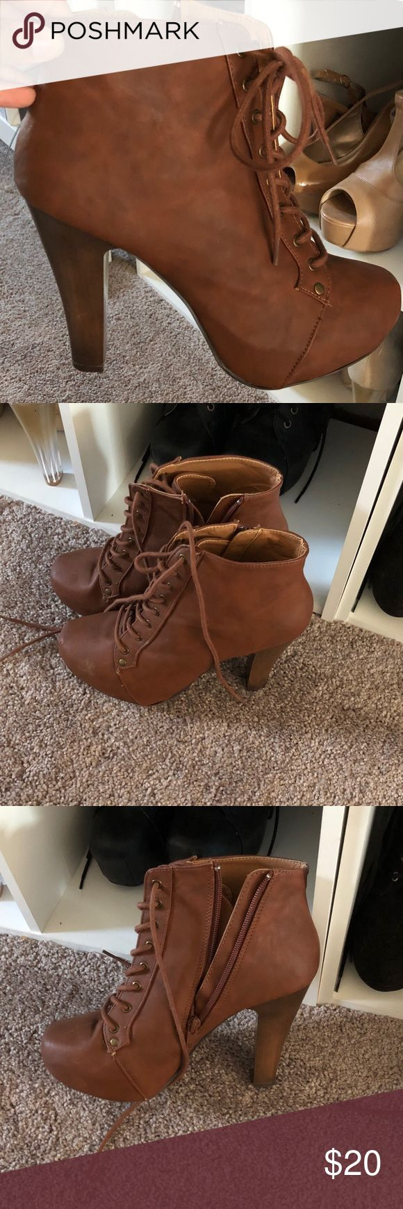 Charlotte Russe Heeled Boots That's Boots we're never worn. Tried on the store and then purchase but never worn. Perfect for fall Charlotte Russe Shoes Heeled Boots