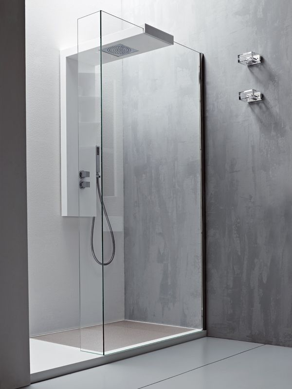 Modular glass shower wall panel ARGO by Rexa Design #bathroom #shower