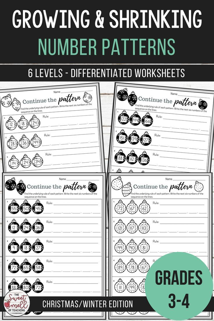 Develop Your Students Abilities To Recognize Rules And Continue Number Patterns With These Engaging Christmas Worksheets Math Resources Math Number Patterns [ 1103 x 736 Pixel ]